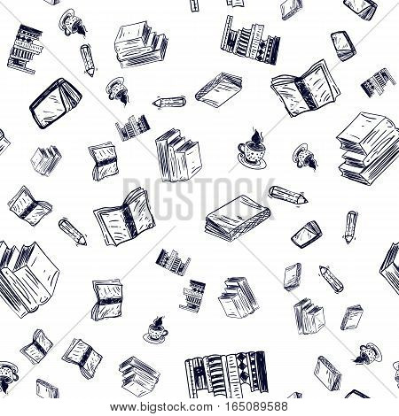 Seamless Doodle Pattern with Books on white background for site, banner, promotion