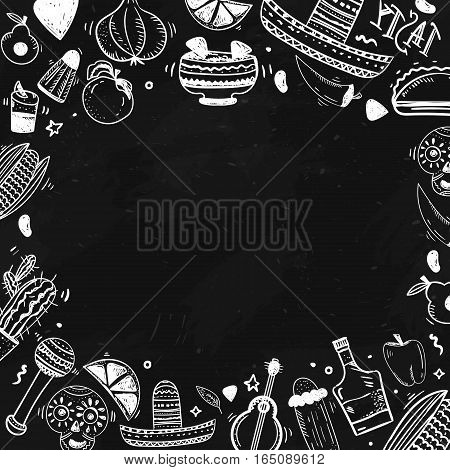 Mexican culture items doodle banner on dark background