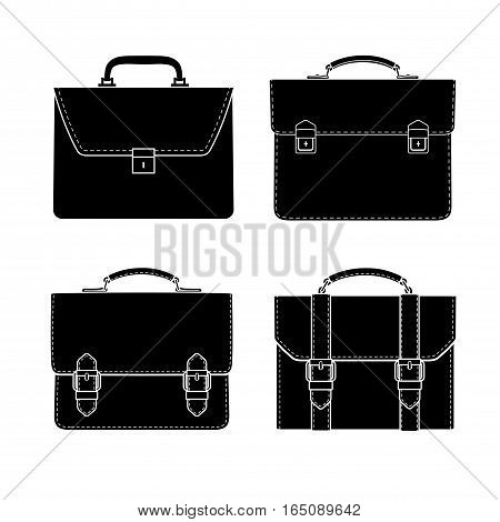 briefcase black and white icon set, isolated vector graphics