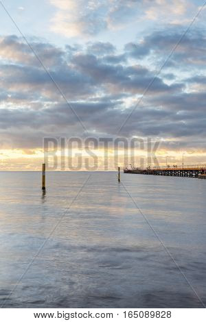 Busselton Jetty is the longest wooden jetty in the world, stretching almost 2 km. Town of Busselton, south of Perth, Western Australia, Australia.