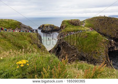 Carrick-a-Rede Rope Bridge is a bridge near Ballintoy in County Antrim Northern Ireland. The bridge links the mainland to the island of Carrickarede