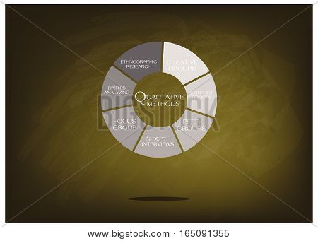 Business and Marketing or Social Research Process Data Collection Methods in Qualitative Measurement in Round Shape Chart on Green Chalkboard.