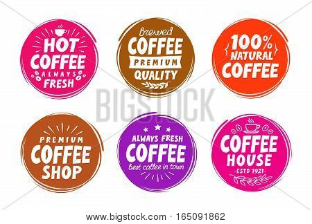 Coffee espresso symbols. Set elements for design menu restaurant or cafe. Vector illustration isolated on white background