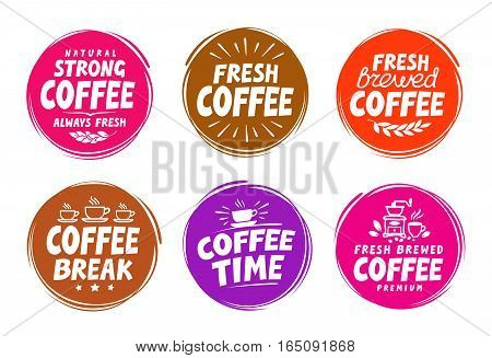 Vector set colorful labels for coffee, drink. Collection icons isolated on white background