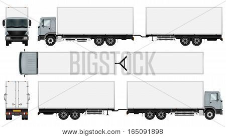 Trailer truck template. Isolated vector freight car. The ability to easily change the color. All sides in groups on separate layers. View from side back front and top.