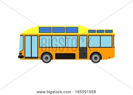 City tourist bus transportation vehicle vector illustration. Public road urban travel passenger commercial car. Street traffic design view side automobile.