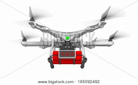 drone with time bomb isolated on white 3d rendering