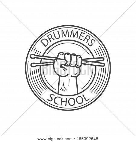 drummers school emblem, hand hold drum sticks, drummers school lettering, vector graphic illustration isolated