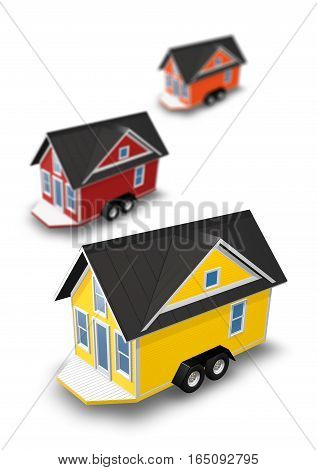 3D Rendered Illustration of 3 tiny houses on a trailers. House is isolated on a white background.