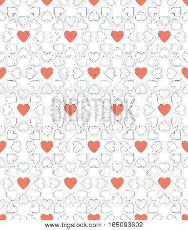 blue dot and red heart valentine day pattern background,vector Illustration EPS10