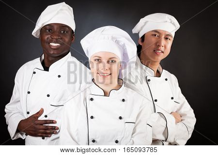 Studio shot on white background of a multi-ethnic group of cooks
