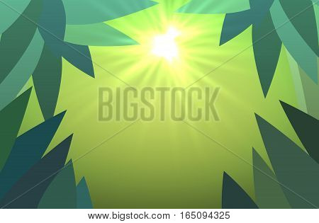 abstract jungles background with sun rays vector illustration