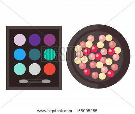 Eyeshadow and rouge isolated on white vector illustration. Fashion cosmetic compact powder paint for face care. Crumbled product beautiful makeup.