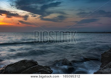 Stunning sunrise and clouds in the Caspian Sea