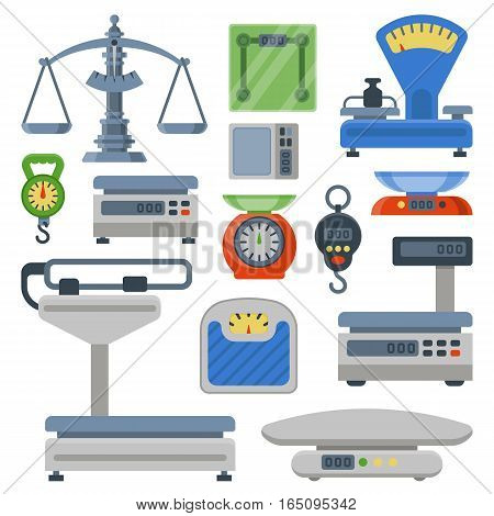 Flat decorative icons set of weight scales tools isolated vector illustration. Measurement instrumentation. Precision icon balance kitchen food equipment.