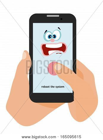 Hands holding a phone on white background. Flat Cartoon style illustration. Template for your advertising. The phone shows its view that it is necessary to reboot the system.