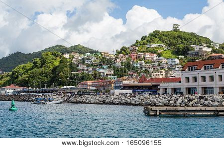 Many Colorful Homes on a Grenada Hillside