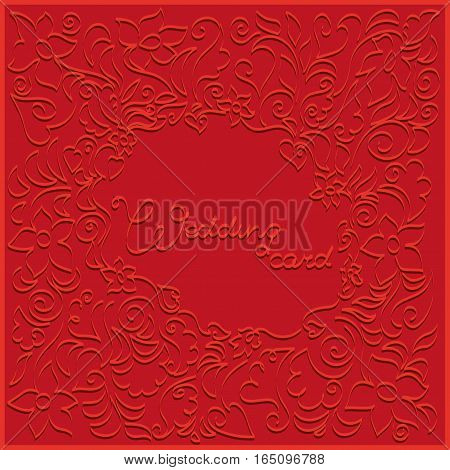 Embossed floral pattern. Design for wedding cards, invitations for engagement party, wedding ceremony.