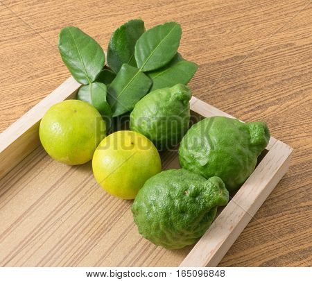 Vegetable and Herb Fresh Kaffir Lime with Persian Lime and Kaffir Leaves for Seasoning in Cooking on A Wooden Tray.