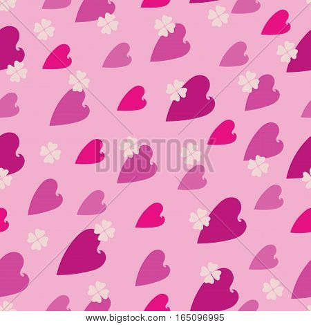 Heart pattern on the pink background. Seamless pattern. Vector Image. Design for tissue, napkins, wrapping paper, festive background for the site.