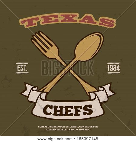 Chefs Vintage T-shirt graphics print vector illustration