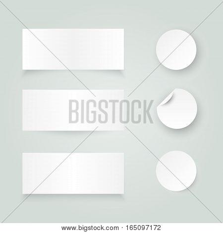 Set of white paper stickers on white background. Round, rectangular. Vector illustration