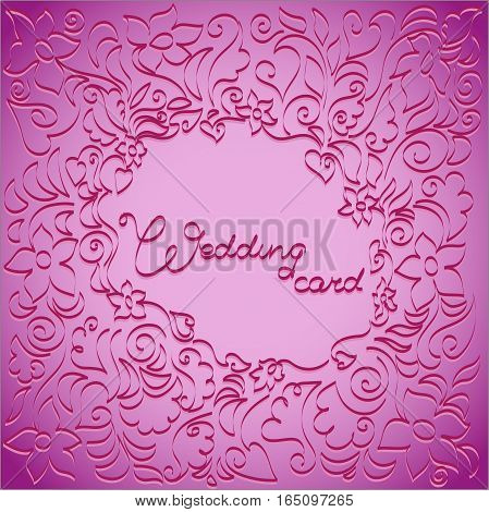 Lilac-pink floral pattern. Design for wedding cards, invitations for engagement party, wedding ceremony.