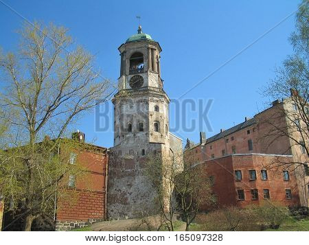 Vyborg, Russia. The architecture of the Old Town in a sunny spring day