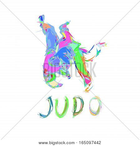 Hand Drawn Judo Throw Isolated Vector Illustration