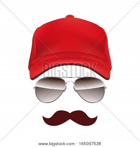 Baseball cap Glasses and Mustache isolated on white background vector