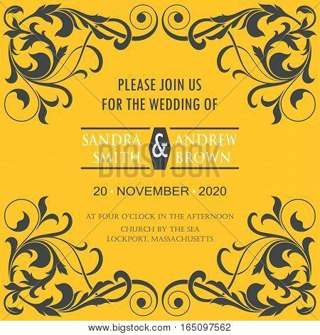 Wedding vintage invitation card or announcement. Vector illustration
