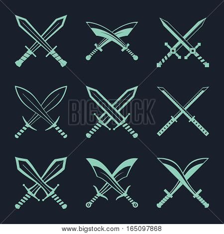 Set of heraldic swords and sabres for heraldry design vector illustration