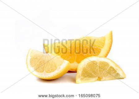 A selection of sliced citrus fruit isoated