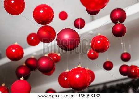 round red Christmas toys for Christmas tree. apartment decor