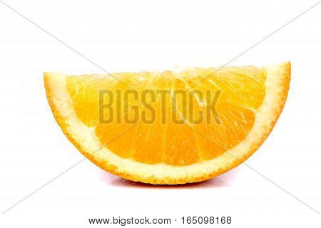 A segment of an orange isolated on white