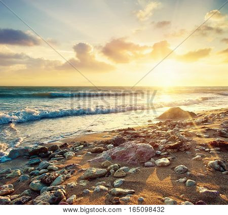 Seascape during sundown. Beautiful natural summer seascape