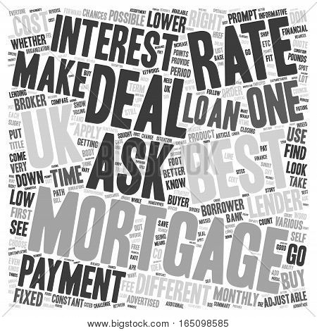 Best mortgage deal UK put your best foot forward text background wordcloud concept
