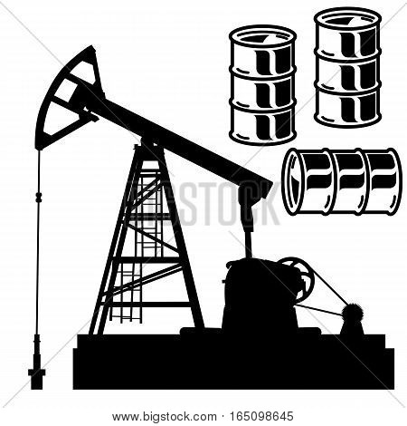 Oil barrel graph with red arrow pointing down. Vector illustration.