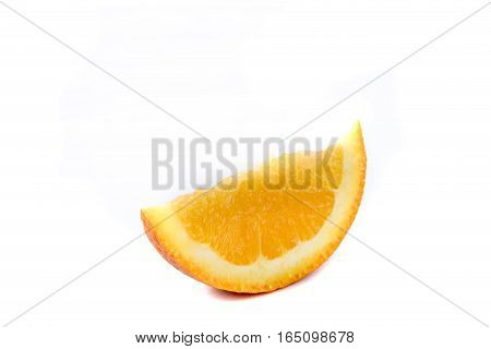 A single slice of an orange isolated