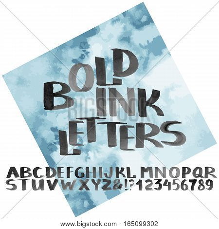 Hand drawn bold ink alphabet. Letters and numerals with watercolor design. Vector font