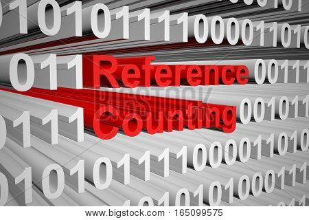 reference counting in a binary code 3D illustration