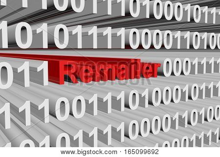 remailer in the form of binary code, 3D illustration