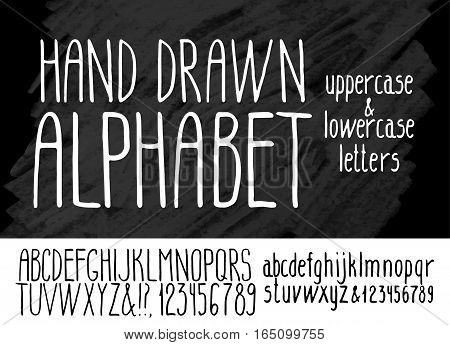 Hand drawn alphabet on graphic background. Uppercase and lowercase fonts. Vector letters and numerals