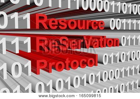 Resource ReSerVation Protocol in the form of binary code, 3D illustration