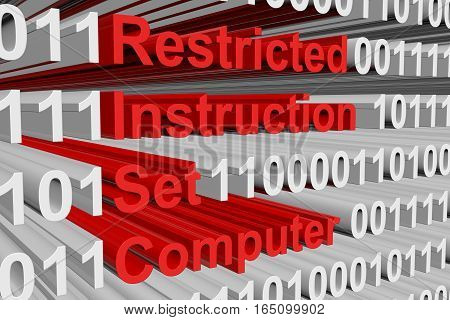 restricted instruction set computer in the form of binary code, 3D illustration