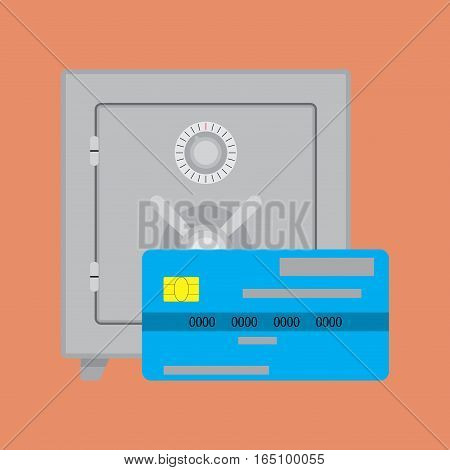 Credit card deposit safe. Vector bank safe protect money o card illustration
