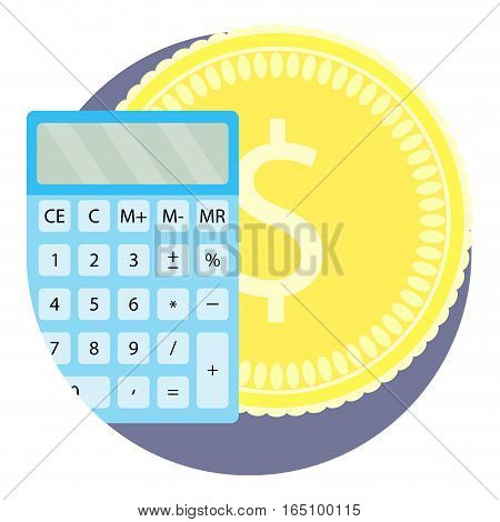 Count money flat icon. Counting coins accounting icon vector illustration