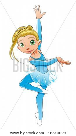 Dancer girl, funny cartoon and vector character.