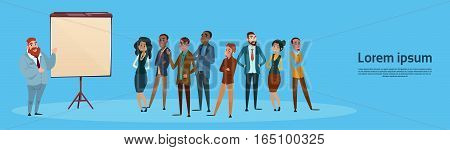 Business People Group Presentation Flip Chart, Businesspeople Team Training Conference Meeting Flat Vector Illustration