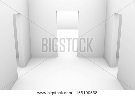 white room with three exits, 3D illustration